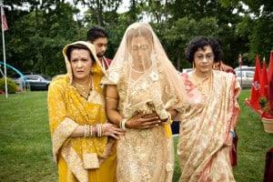 Indian bride walking down the Isle