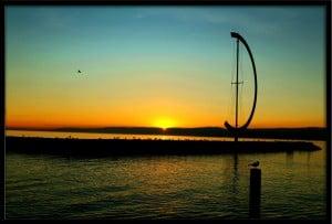 American sun set coast line colors