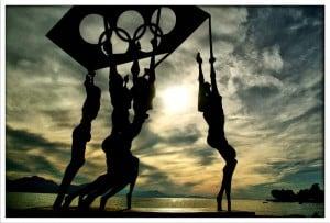 Olympics flag statue
