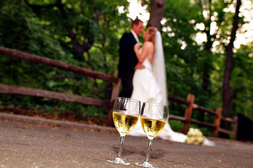Bride and groom champagne wedding glasses