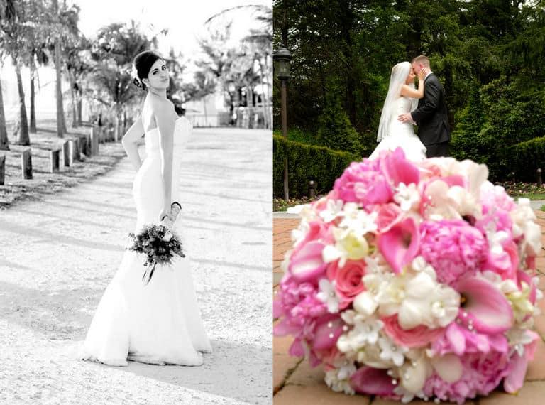 Wedding day pink flowers