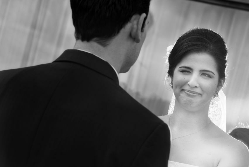 Happy tears from the bride before saying I do