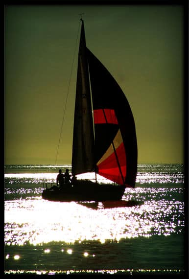 Silhouette of boats with a beautiful sunset