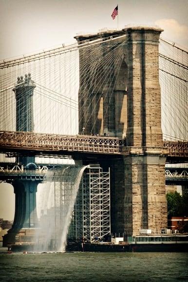 Brooklyn Bridge Waterfall In New York