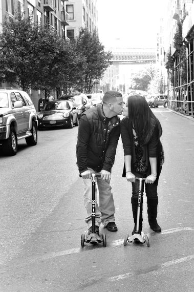 Engagement ideas photo shoot on a scooter