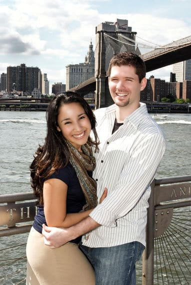 Engagement shoot on the Brooklyn Bridge