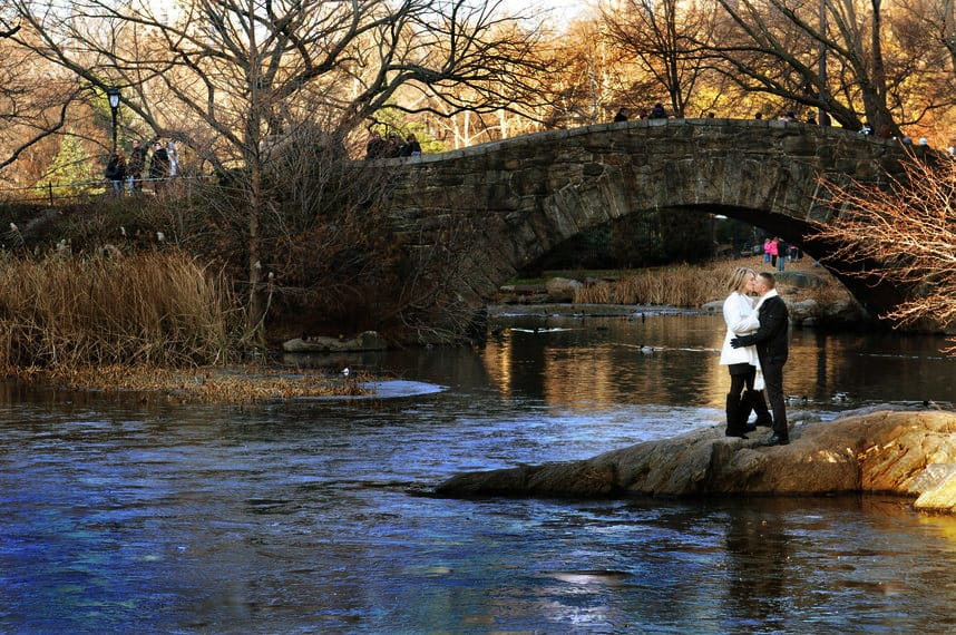 Engagement pictures on the bridge in Central park