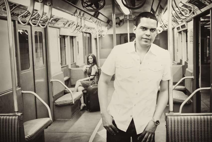 Engagement pictures in New York City subway trains