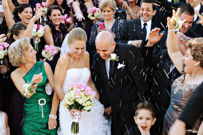 Wedding rice throwing moments