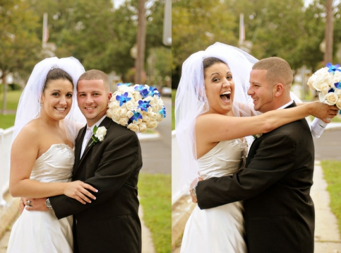 Laughing moments of the bride and groom